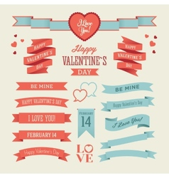 The set of valentines day ribbons vector