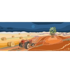 Landscape with tractor vector