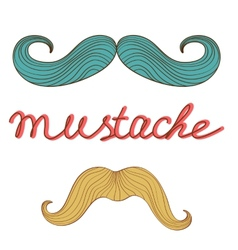 Stylish retro mustaches set vector