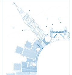 Outline london panorama with big ben and skyscrape vector