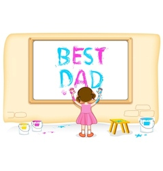 Girl painting best dad vector