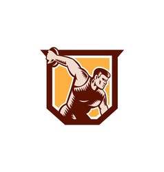 Discus thrower shield woodcut vector