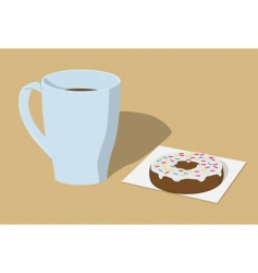 Coffee and donut vector