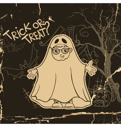 Little ghost and pumpkin halloween background vector