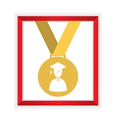 First class honors gold medal graduation vector
