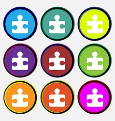 Puzzle piece icon sign nine multi-colored round vector