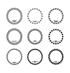 Set icons of laurel wreath and modern frames vector