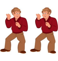 Happy cartoon man standing in red sweater vector