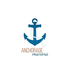 Anchorage marina logo template with anchor vector