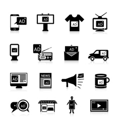 Advertising icons black vector