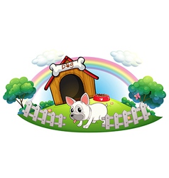 A dog in a doghouse with fence vector