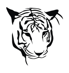 White tiger stencil vector