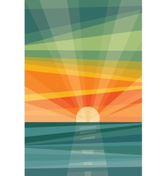 Sunset on beach geometric abstract vector
