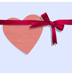 Paper heart with ribbon vector