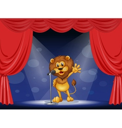A lion singing at the center of the stage vector