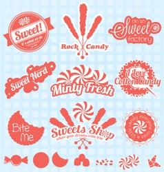 Retro candy labels and icons vector