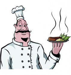 Chef with plate of food vector