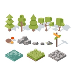 Flat elements of nature trees bushes rocks vector