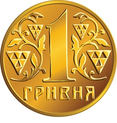 Ukrainian money gold coin one hryvnia vector