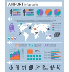 Airport business infographic set vector