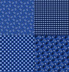 Blue bandana patterns vector