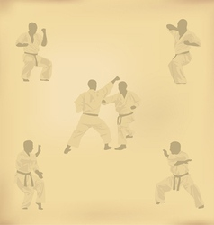 Set of images of karate on old paper vector
