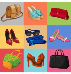 Women bags shoes and accessories collection vector