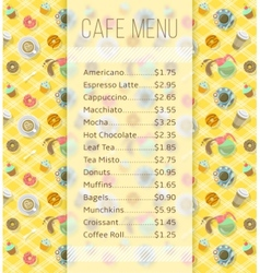 Cafe menu template with food and drink prices vector
