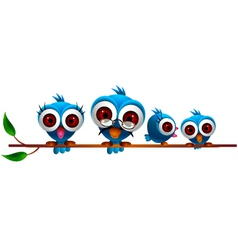 Cute blue bird family vector