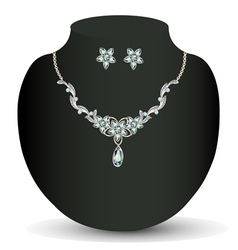 Necklace and earrings womens wedding vector