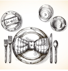 Festive table setting vector