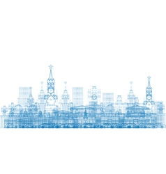 Outline moscow city skyscrapers and famous buildin vector