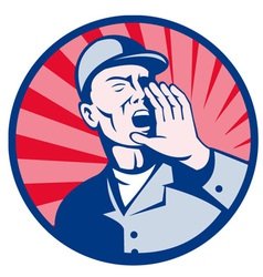 Worker shouting hand on mouth retro vector