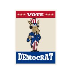 Democrat donkey mascot thumbs up flag vector