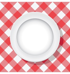 Picnic tablecloth and a plate vector