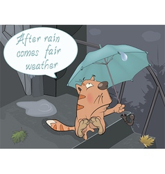 A cat and a rain comics vector