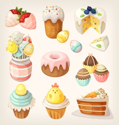 Colorful food for easter party vector