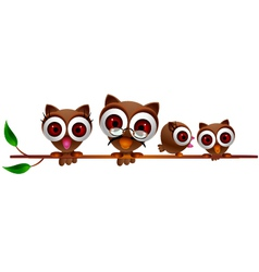Cute owl family vector
