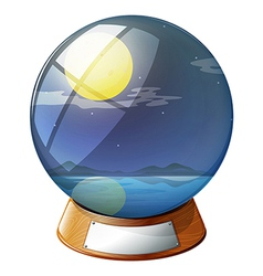 A crystal ball with a fullmoon inside vector