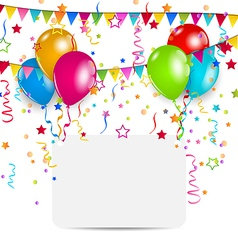 Celebration card with balloons confetti and vector