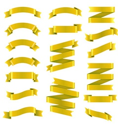 Golden ribbon big set vector