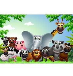 Funny animal cartoon in the jungle vector