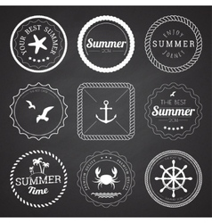 Set of 9 circle summer frames borders vector