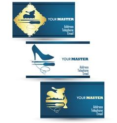 Shoe repair business card master vector
