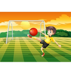 A girl using the ball with the flag of china vector