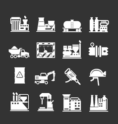 Set icons of industrial and factory vector