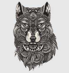 Highly detailed abstract wolf vector