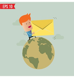 Business man deliver envelope vector