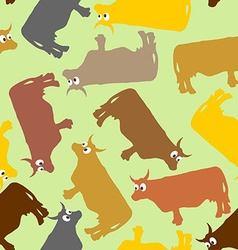 Cow seamless pattern crazy cow with big eyes pets vector