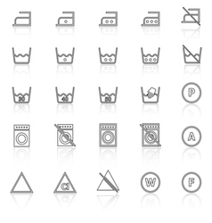 Laundry line icons with reflect on white vector